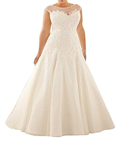 WeddingDazzle Plus Size Tulle Lace Wedding Dresses A-Line Bridal Dresss for Women's 18W White