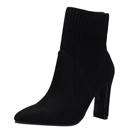 Mee Shoes Damen high heels spitz Nubukleder Stiefel Schwarz