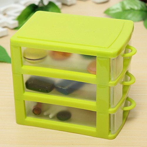plastic storage box colored Desktop Plastic Storage Box with Three Drawers Jewelry Organizer Holder Cabinets Fit For Office Home plastic storage box drawers (Green) (Fit Drawer Organizer)