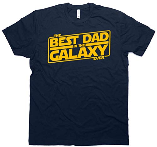 Best Dad in The Galaxy Ever Men's T-Shirt New for Dad with Bonus Sticker Navy (X-Large) (Best Dad In The Galaxy Shirt)