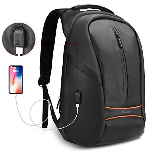 Anti Theft Laptop Backpack, SPARIN 15.6 Inch Water-Resistant Lightweight College School Student / Travel / Business Work Computer Backpack with USB Charging Port for Men Women, Black