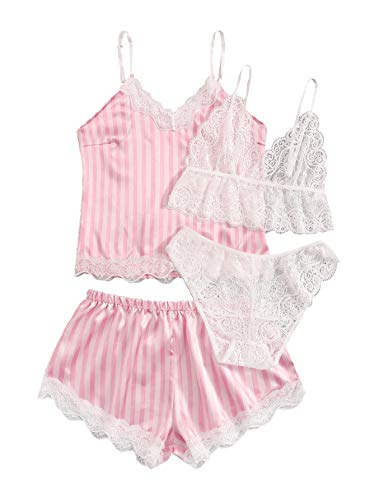 SweatyRocks Women's Solid Floral Lace Cami Top with Shorts with Panties 4 Piece Set Sexy Lingerie Pajama Set Sleepwear Z#Striped Pink 2 L