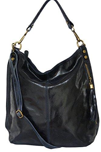 fashion-formel Shopper bolso, bolso de hombro de mujer, Mod. 2106 cuero Italy Dark-blue