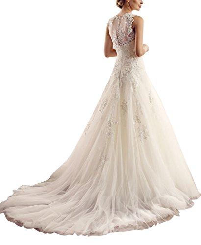 sposa A di principessa linea maniche di Tulle senza GEORGE Bianco abito Applique BRIDE da aqpZ8yRUf