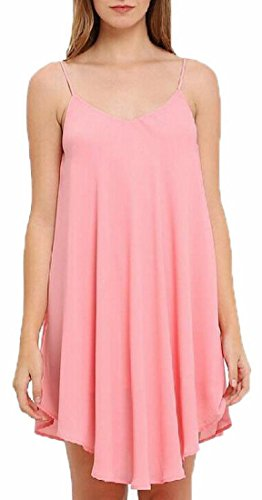Chiffon Sleeveless Summer Strap Beach Dress Spaghetti Jaycargogo Pink s Women Slip TacqC
