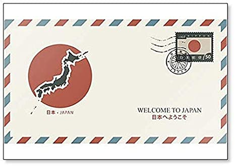 Amazon.com: Retro Postal Envelope with a Map of Japan and ...