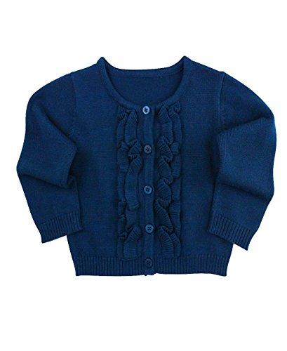 RuffleButts Baby/Toddler Girls Navy Ruffled Cardigan - 12-18m