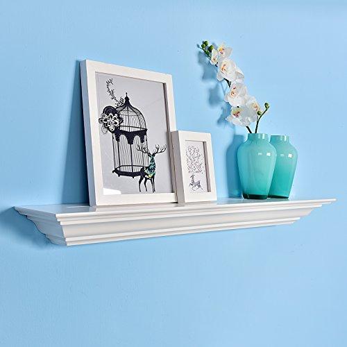 WELLAND Corona Crown Molding Floating Wall Display Shelf (36-Inch White ) (Set Solid Pine Headboard)
