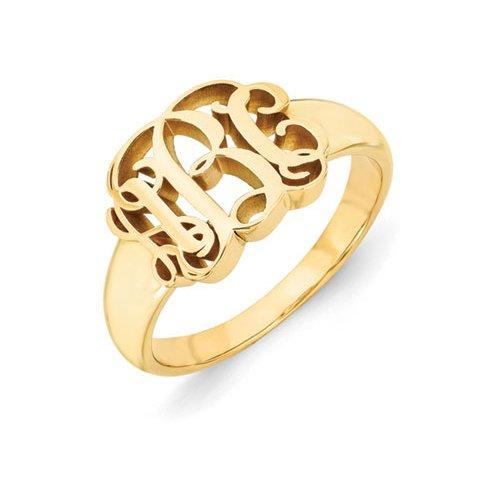 14K Yellow Gold Monogram Ring (Yellow Gold Monogram)