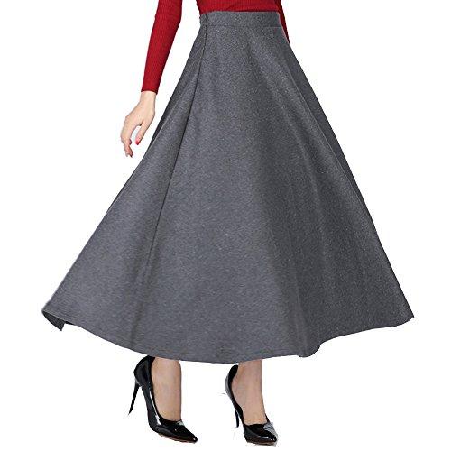 Jupe en et haute taille Fonc femme TEERFU vase pour laine longue Gris r05qnrw7