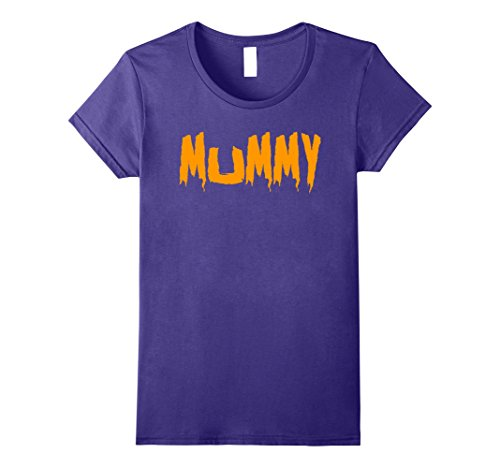 Womens Mom's Mummy T-Shirt Funny Mother's Halloween Costume Party Large Purple (Matching Costumes For Husband And Wife)