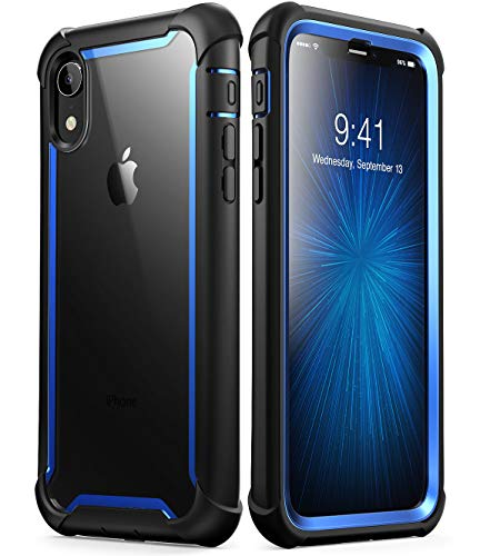 iPhone XR Case, i-Blason [Ares] Full-Body Rugged Clear Bumper Case with Built-in Screen Protector for Apple iPhone XR 6.1 Inch (2018 Release)(Blue) -
