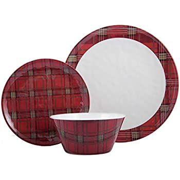 Christmas Tree 6 Each | Shatter-Proof and Chip-Resistant Melamine Plates and Bowls | Dinner Plate 608410089686 Salad Plate /& Soup Bowl Melange 18-Piece Melamine Dinnerware Set