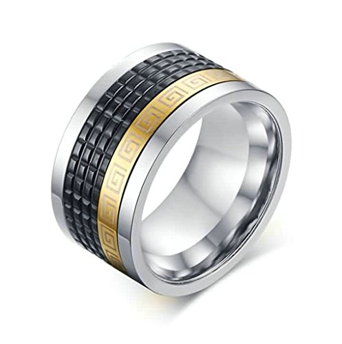 Stainless Steel Rings Men's Bands CZ Couples Black Silver Epinki - 2