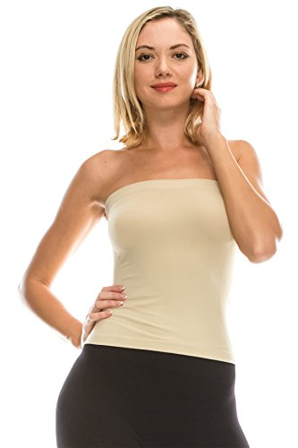 Kurve Medium Length Ribbing Side Seamless Tube Top -Made in USA-