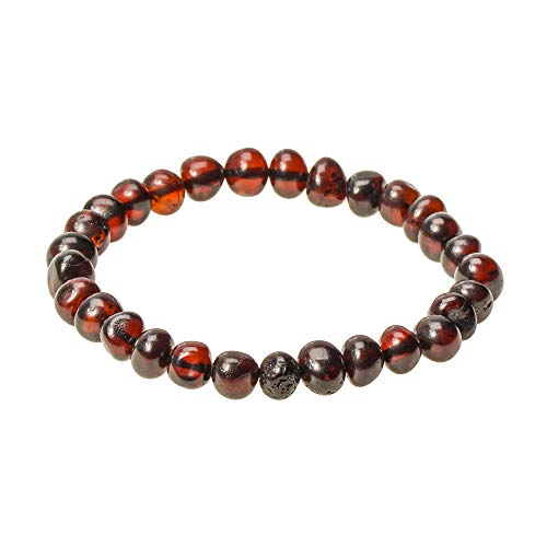 Polished Genuine Baltic Amber Bracelet for Adult - Choose Your Color and Choose Your Size! - 3 Sizes and 10 Different Colors - 100% Authentic Baltic Amber (7.8 inches, Cherry) (Cherry Genuine Bracelets)