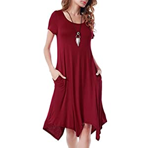 Invug Women Casual Loose Soft Crewneck Short Sleeve Pockets Swing T-Shirt Dress