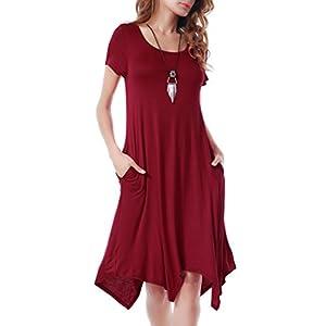 Invug Women Casual Loose Soft Crewneck Pockets Stretchy Swing T-Shirt Dress