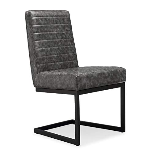 Tov Furniture The Austin Collection Modern Industrial Eco-Leather Upholstered Steel Base Dining Chair (Set of 2), Grey with Black ()