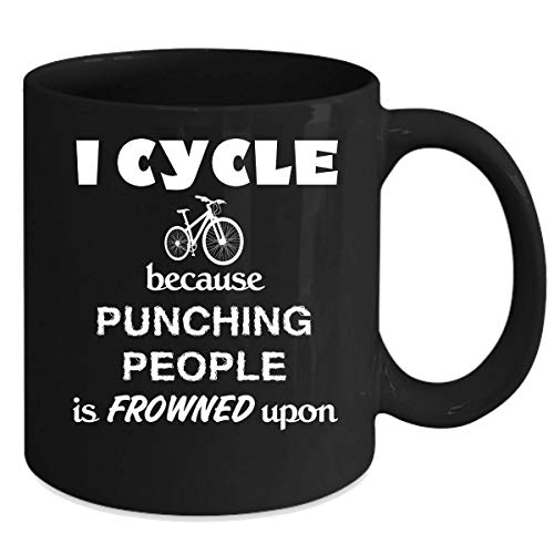 Cycling/BMX/Bike I Cycle because punching people is frowned upon Gift, Christmas, Birthday Present Black Mug