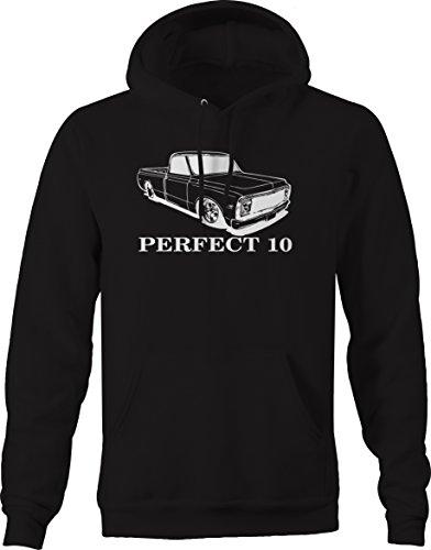 Bold Imprints Perfect 10 Chevy C10 Fleetside 1967-72 Pickup Truck Hooded Sweatshirt - 2XL Black