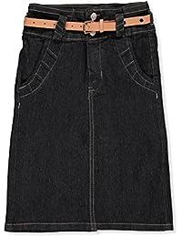 Girls' Belted Denim Pencil Skirt