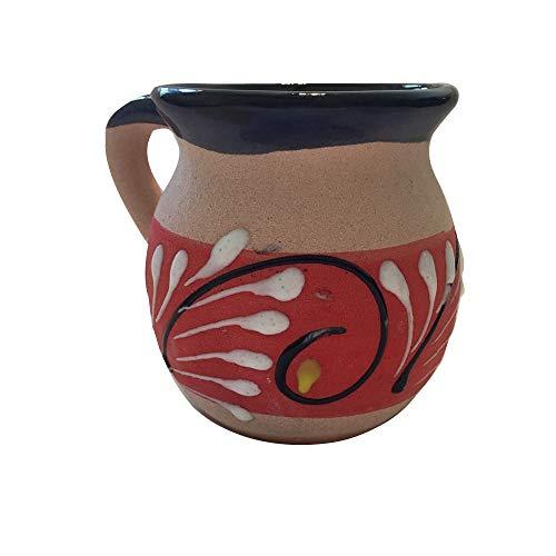 NEW! Handcrafted Clay Coffee Cup, Mug Traditional Mexican Artisanal Tea Folk Art (ORANGE-BROWN) by BERRYSTON LLC