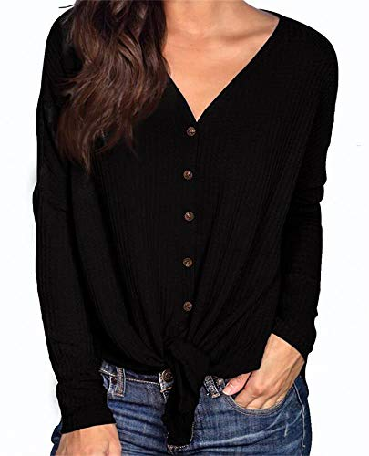 (PCEAIIH Womens Long Sleeve Waffle Knit Tunic Blouse Tie Knot Henley Tops Loose Fitting Bat Wing Plain V Neck Shirts L Black)