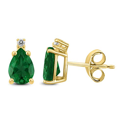 - 14K Yellow Gold 6x4MM Pear Emerald and Diamond Earrings