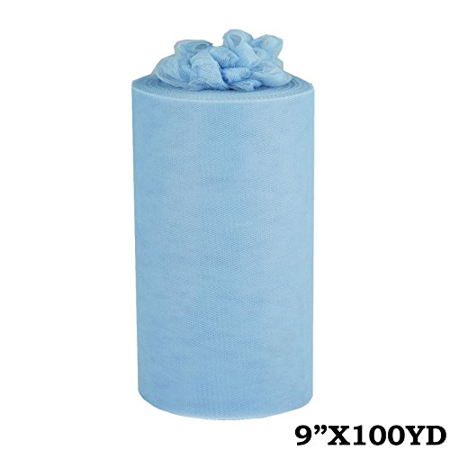 - BalsaCircle 9-Inch x 300 feet Light Blue Net Tulle Fabric by The Roll - Wedding Party Favors Decorations DIY Crafts Sewing Supplies