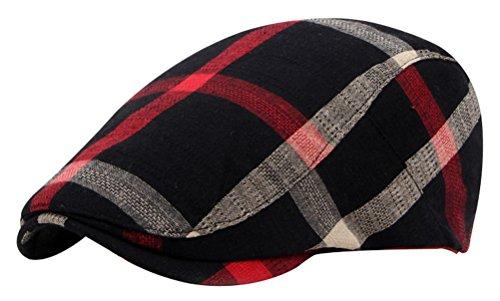 Bellady Adult Peaked Simple color Plaid Newsboy Cap Beret Hat
