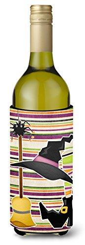 Witch Costume and Broom on Stripes Halloween Wine Bottle Beverage Insulator Beverage Insulator Hugger -