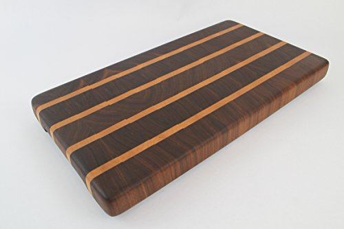 Handcrafted Wood Cutting Board - End Grain - Rich Walnut with Maple wood. No slip bottom and easy grips. Cook like a pro with this board!