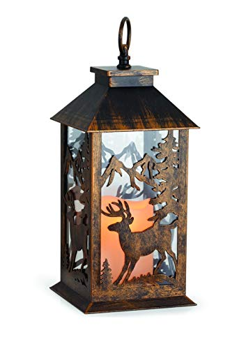 Indoor Reindeer - X-Treat Christmas Decoration Indoor, Outdoor 14 Inch Reindeer Cutout LED Light-Up Candle Metal Lantern