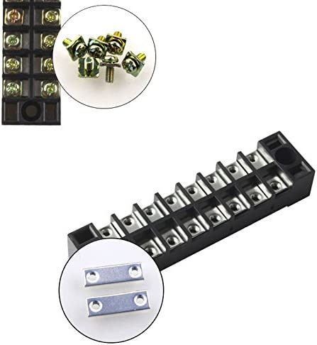 WOVELOT 2 Pcs 8 Position Double Row Screw Terminal Covered Barrier Strip 600V 25A