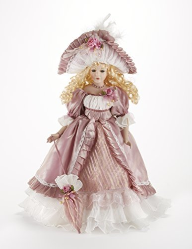 Grace Blonde Curled Hair Mauve Victorian Style Dress 18 Inch Porcelain Doll Delton