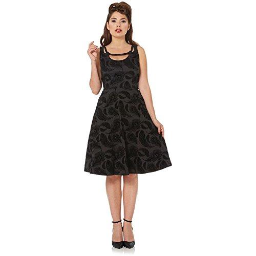 Womens-Voodoo-Vixen-Trinity-Feather-Flocked-Flare-Dress-Black