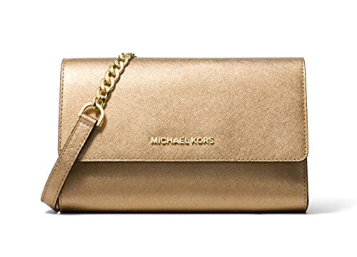Michael Kors Saffiano Leather 3-in-1 Crossbody with Removable Card Pouch - Pale Gold