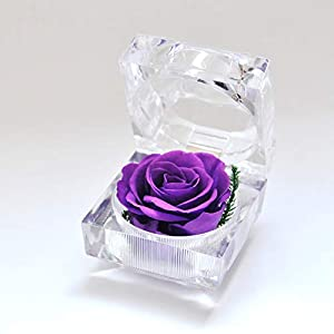 Preserved Fresh Flower Eternal Rose with Acrylic Crystal Ring Box, Gifts for Women, Her, Girls, Mother's Day, Valentine's Day, Christmas,Thanksgiving Day, Anniversary, Birthday, Wedding (Purple)