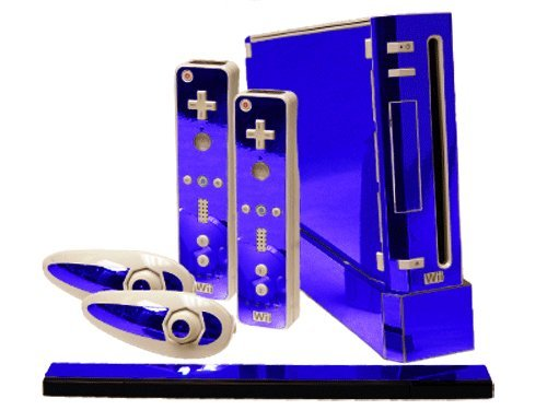 - Nintendo Wii Skin - NEW - BLUE CHROME MIRROR system skins faceplate decal mod