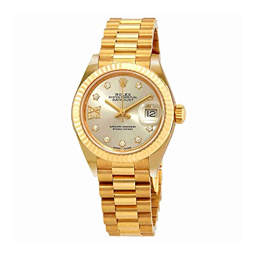 Rolex Lady-Datejust Silver Diamond Dial Ladies 18kt Yellow Gold President Watch 279178SRDP