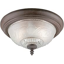 Westinghouse 6431600 Two-Light Flush-Mount Interior Ceiling Fixture, Sienna Finish with Embossed Floral and Leaf Design Glass