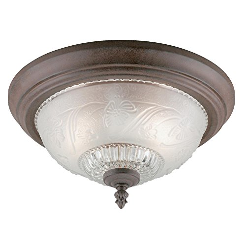 Westinghouse 6431600 Two-Light Flush-Mount Interior Ceiling Fixture, Sienna Finish with Embossed Floral and Leaf Design Glass - Floral Ceiling Fixture