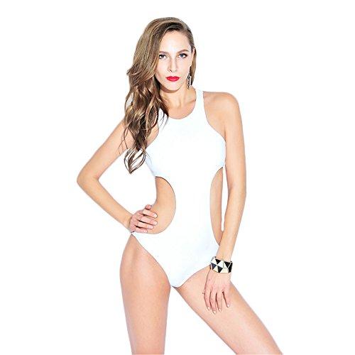 COCO clothing Las Mujeres Atractiva Blanco Escotado por Detrás Monokini Una PiezaBañadores Ropa de Baño de Playa
