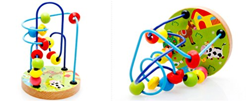 Joyeee Multicolor Wooden Bead Roller Coaster  1   Farm Pattern   Compact Size Early Education Beads Maze Toys For Your Kids   Perfect Christmas Gift Ideas