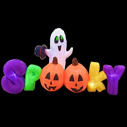 [7 Foot Spooky Ghost Pumpkin Halloween Party Portable Air Blown Inflatable Yard Decoration with LED Lights and Blower Fan] (Bride Of Dracula Costumes)