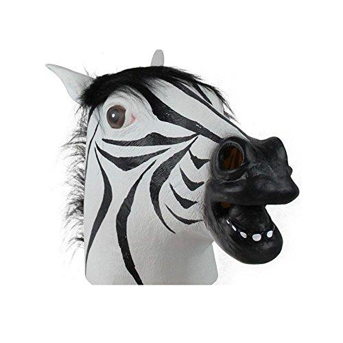 [Latex Zebra Head Mask Cosplay Carnival Animal Halloween Costume Theater Prop Toy Gift] (Zebra Head Costumes)