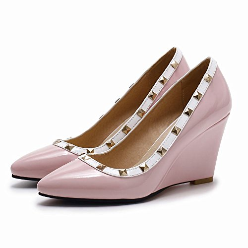 Latasa Dames Mode Bezaaid Puntschoen Wedge Pumps Roze