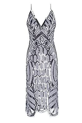 Metme Women's 1920s V Neck Sexy Straps Gatsby Party Dress Vintage Sequin for Evening Prom