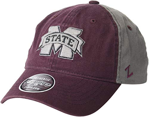 Mississippi State Cap - ZHATS NCAA Mississippi State Bulldogs Men's Moonscape Relaxed Cap, Adjustable, Grey/Team Color